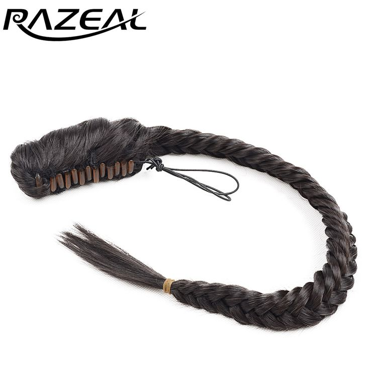 "Razeal Women Natural Long Curly Blonde Black Brown 20"" 50 Cm 120g Braided Ponytail Hair Pieces"