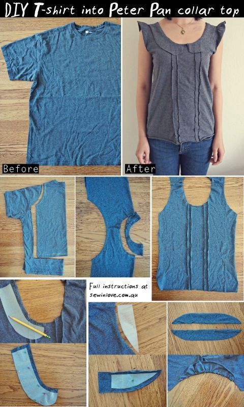 T-shirt Refashion: Make a peter pan collar top with a pleated front out of a t-shirt!  http://www.sewinlove.com.au/wp-content/uploads/2013/07/DIY-Tshirt-into-Peter-Pan-ruffle-top-Pinterest.jpg