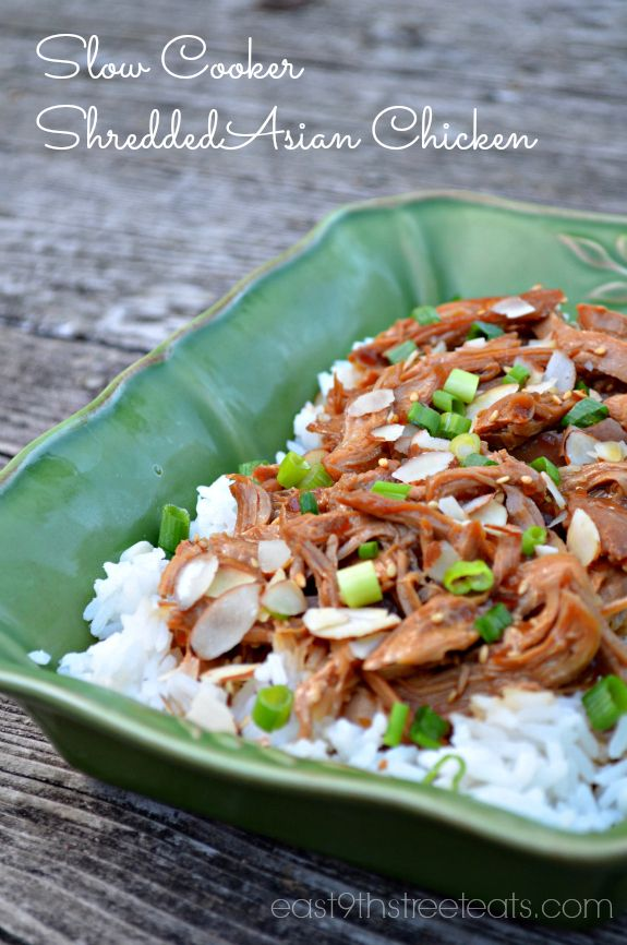Slow Cooker Shredded Asian Chicken... seems like it would be good on an asian chicken salad as well!