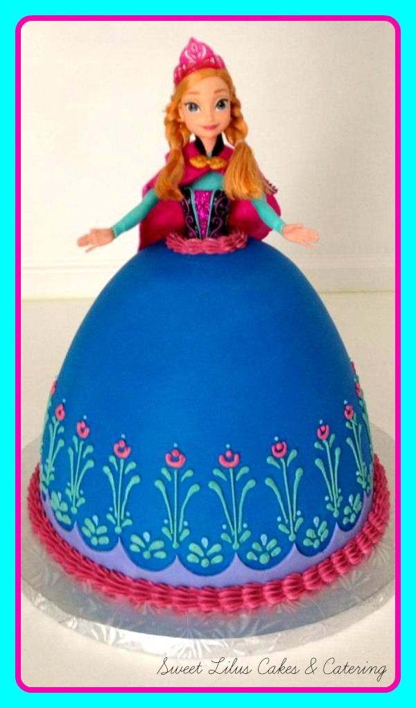 "Anna and Elsa cakes | Anna from ""Frozen"", doll cake...fondant and swiss meringue buttercream ..."