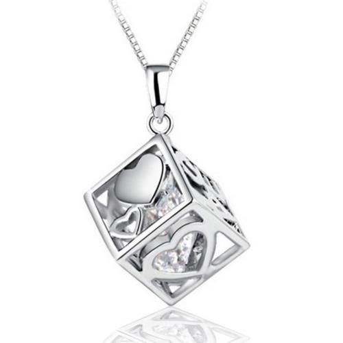 925 Sterling Silver Heart Shaped White Zircon Women/'s Pendant Necklace Chain 18/""