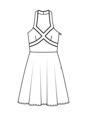 50s Halter Dress pattern flat line drawing www ...