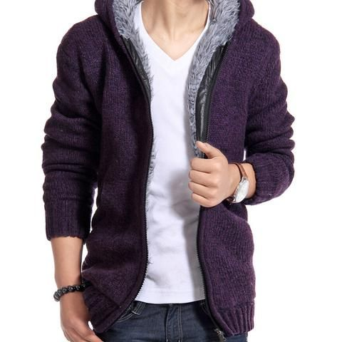 Thick knitted sweater with a hood.