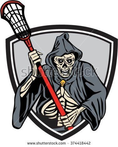 Illustration of the grim reaper lacrosse player holding a crosse or lacrosse stick pole viewed from front set inside crest shield done in retro style.  #grimreaper #retro #illustration