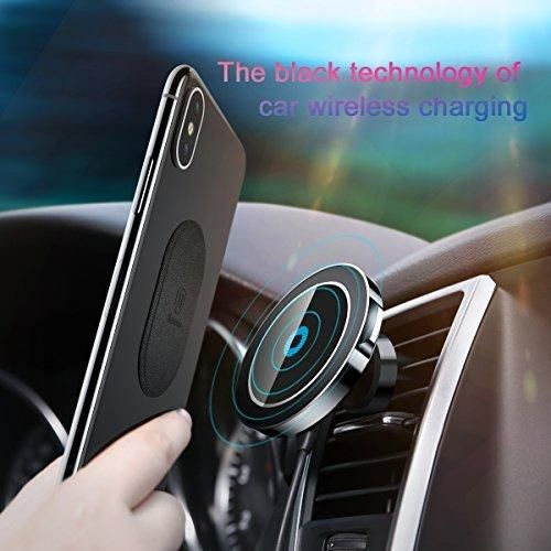 Car Phone Mount,Baseus Universal Air Vent Magnetic Phone Car Mount Holder Car Phone Holder Fast Wireless Chargers QI Wireless Charging Pad Quick charge for iPhone X 8 8 Plus,Galaxy Note5/S6/S7/S8 etc