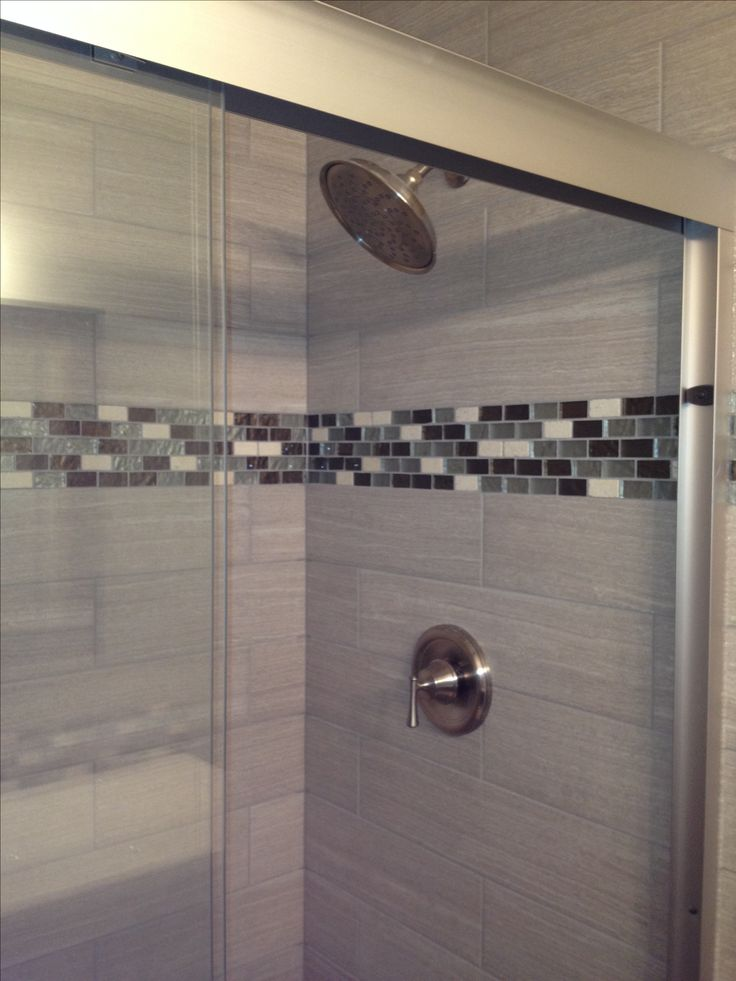 Tile shower glass tile accent bathroom pinterest for Bathroom accents