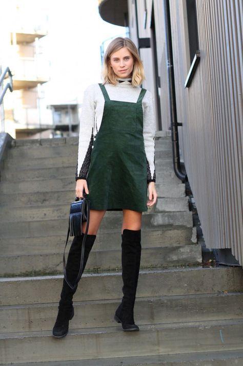 cute velvet dress from Zara and knee boots