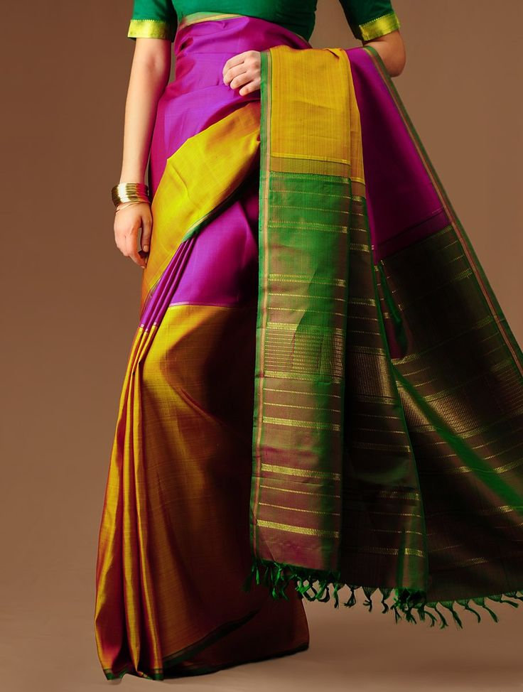 YellowGreen Kanchipuram Silk Saree Buy Sarees > Woven