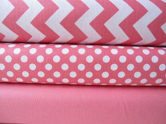 Hot Pink Fabric Half Yard Bundle Small Chevron by minimushrooms