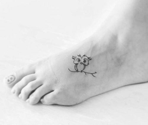 Small Owl Tattoo on Foot