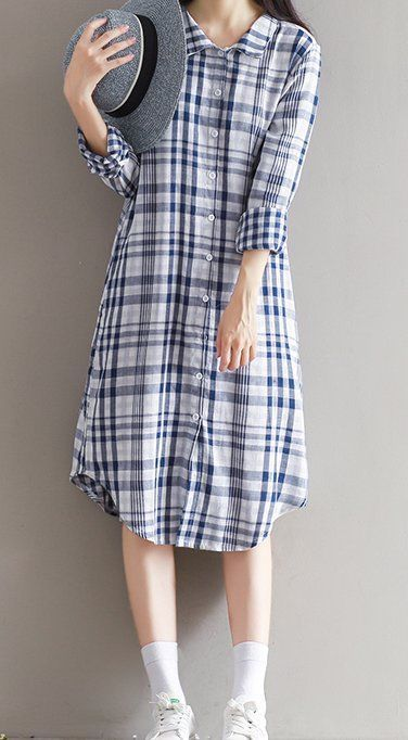 Women loose fit over plus size plaid checkers pocket dress maxi tunic skirt chic #Unbranded #dress #Casual