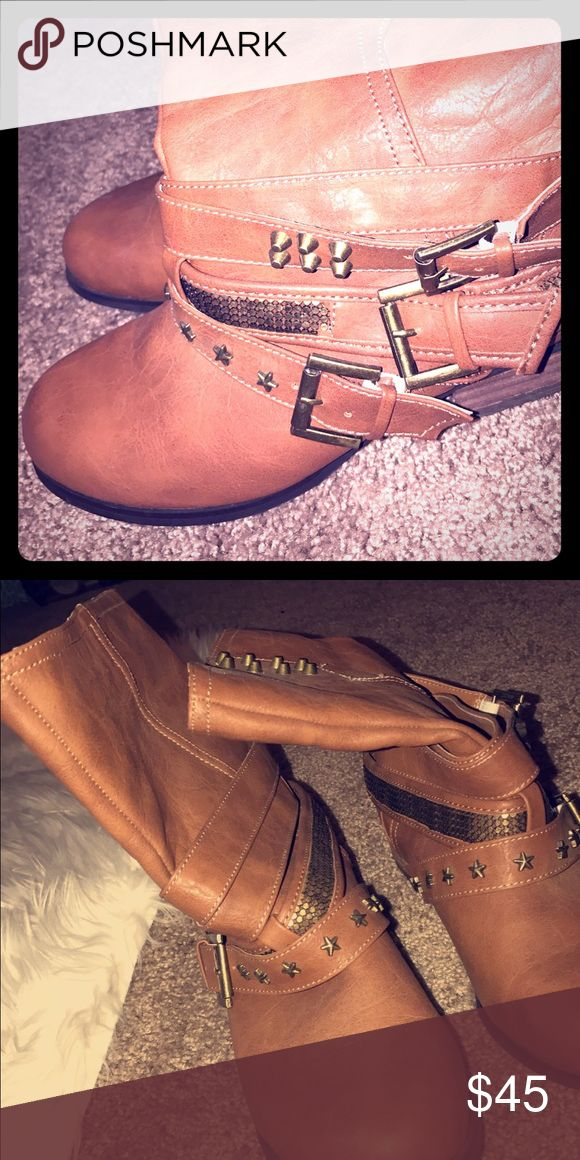Not rated boot camel gold studs 9.5 Bought at buckle look new 9.5 women's boots Not Rated Shoes Ankle Boots & Booties