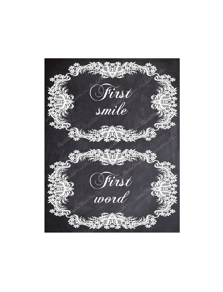 First smile, First word 01, Two Lace Chalkboard Monthly Stickers, Onesie Stickers by DigitalPrintStore on Etsy