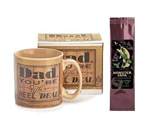 Dad You're the Reel Deal Fisherman Mug with Monster Java Camo Fish Coffee Gift Set (2 Items)