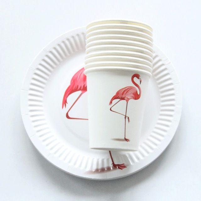 10 Unids Flamingo Platos Vasos De Papel Desechables Vajilla De