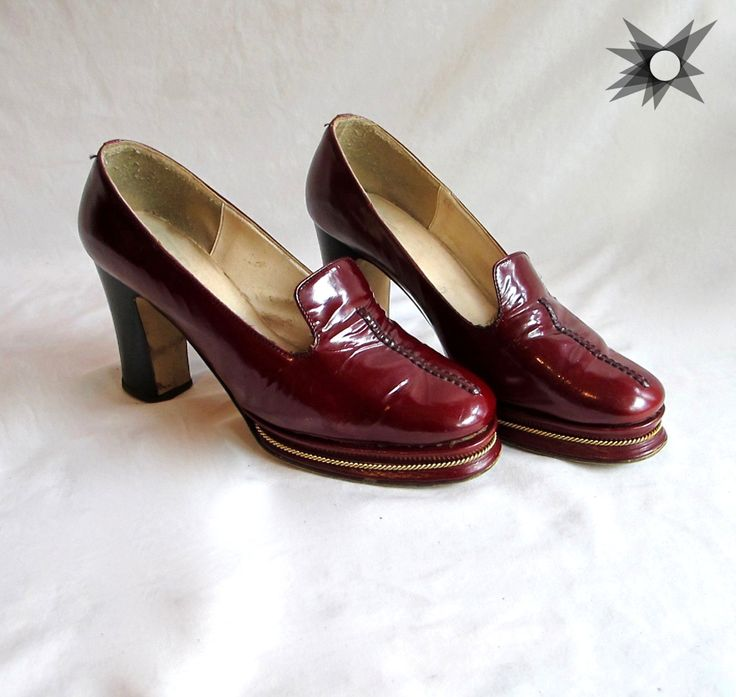 Vintage 1960's/70's Blood Red Platform Chunky Loafer Heels with Gold Detail Size 6-61/2 by SatelliteVintageCo on Etsy