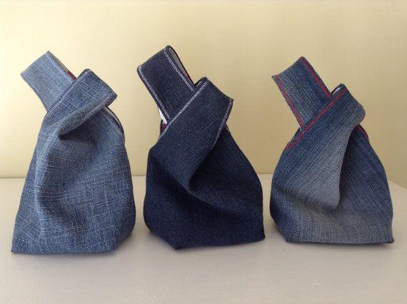 Denim Japanese Knot Bag Mini Wrist Purse/Bag Tote Bag Boho