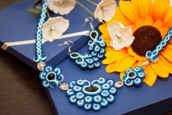 Soutache necklace and earrings BLUE DREAMS, blue soutache jewelery set  Blue lagune it's very quiet place. I love a lot that places because are full