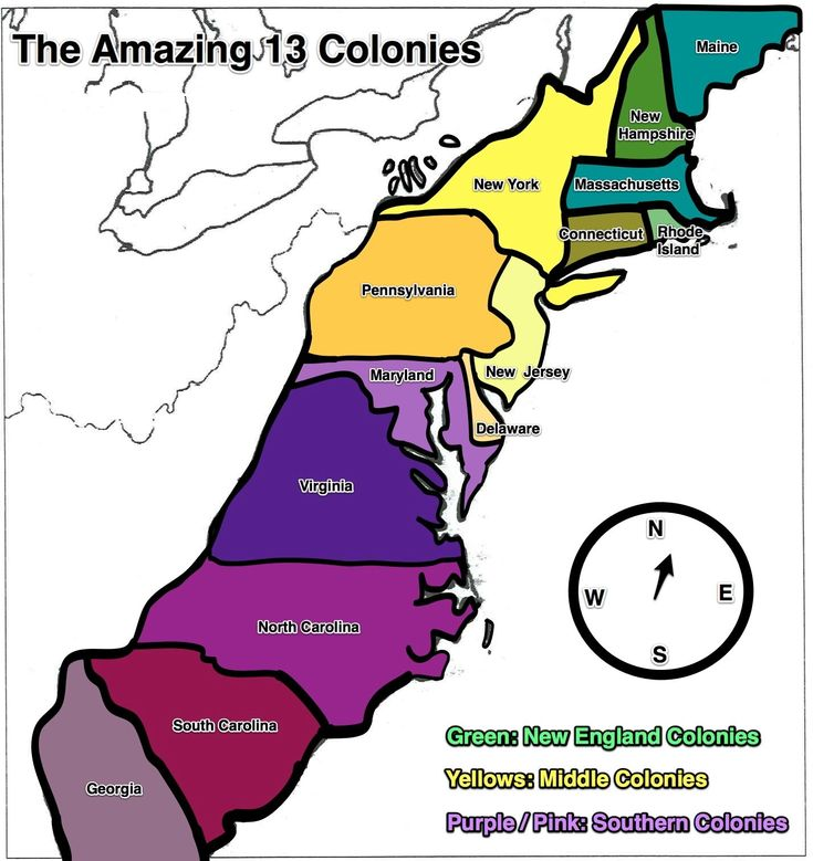 13 Colonies Map Free Large Images Home School
