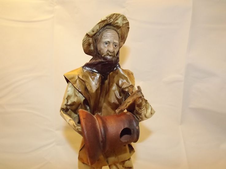 Peasant Man at Work, Mexican Folk Art Papier Mache Sculpture, Vintage Home-made, Hand Painted Mexican Doll Figure, Elderly Man and Clay Pot by OutrageousVintagious on Etsy