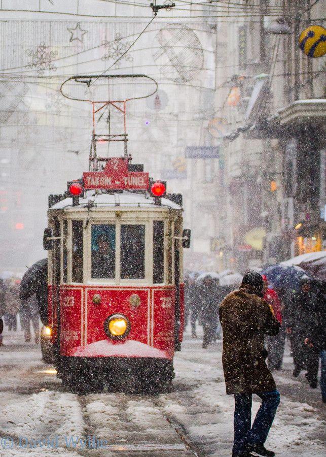 Snow in tram on Istiklal Avenue, Istanbul, Turkey