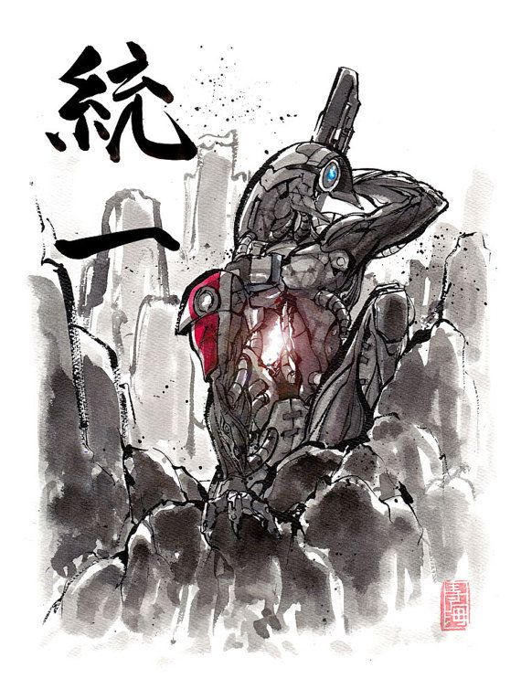 8x10 PRINT Mass Effect Legion Japanese Calligraphy Unity
