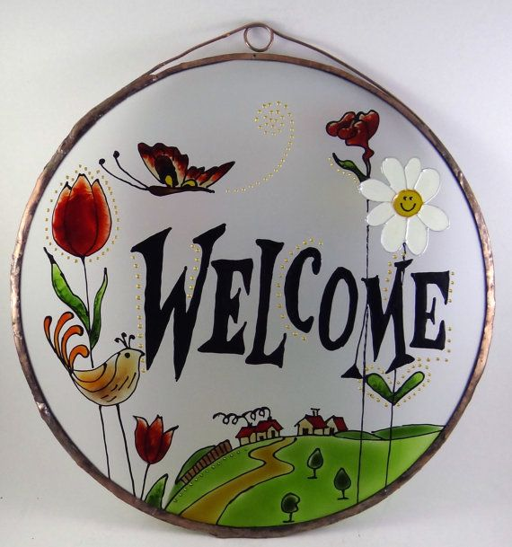 Poppied Welcome  Welcome  Poppy  Painted Glass by KorinArt on Etsy