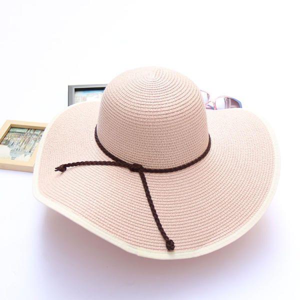 Women Summer Wide Birm Bucket Straw Hat Outdoor Travel Sunshade Visor Beach Hat at Banggood