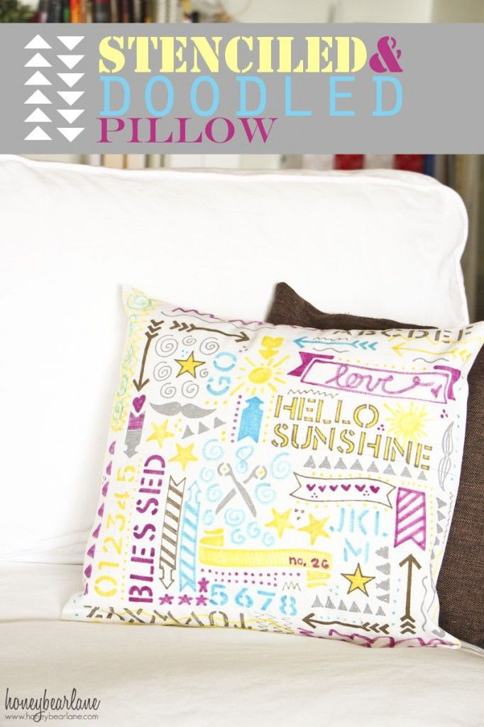 DOODLED STENCILED PILLOW