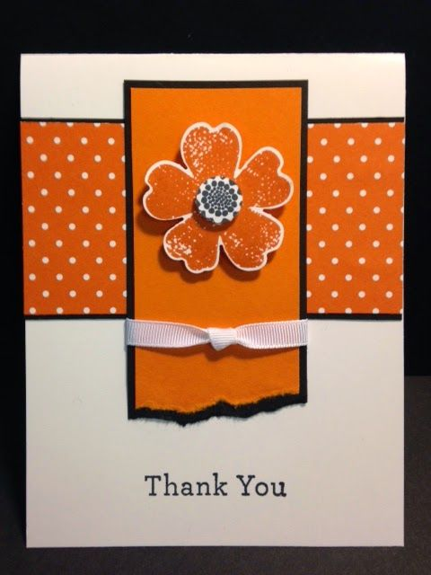 The flower on this handmade thank you card pops in a color called Tangelo Twist. Slightly folding the petals forward also gives it some dimension. Follow the great tip to tear the torn edges together so they look good together on the card.
