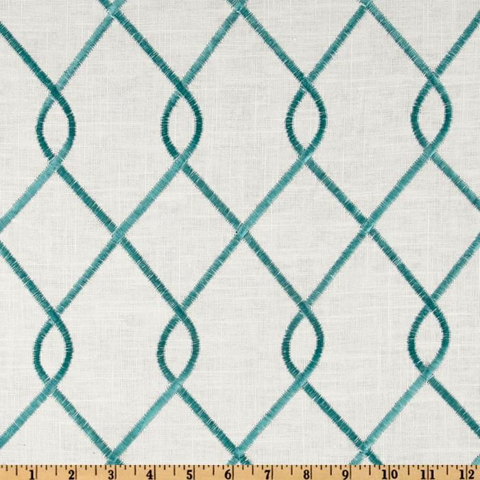 Duralee Home Embroidered Rico Aqua from @fabricdotcom  Designed by Alfred Shaheen for Duralee Home a Division of Duralee Home, embroidered on a cotton/linen blend this medium/heavy weight fabric is very versatile. This fabric is perfect for window treatments (draperies, valances, curtains, and swags), bed skirts, duvet covers, pillow shams and accent pillows. Colors include aqua on an ivory background.