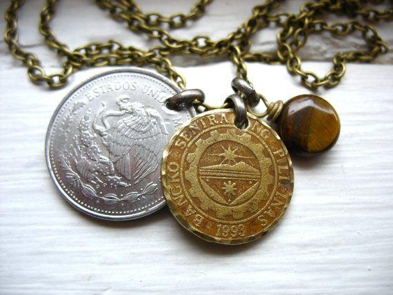 Coin Jewelry Turquoise Gemstone Coin Charm por LuminousCreation