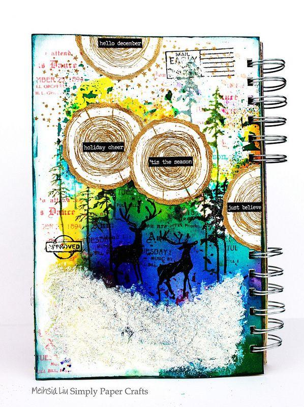 Meihsia Liu Simply Paper Crafts Mixed Media Art Journal Winter Scene Tim Hotz Simon Says Stamp 1