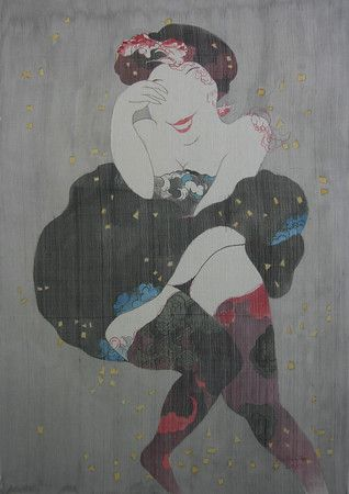 Artist - Bui Tien Tuan Title - In Front of Wind like Marilyn Monroe Medium - Pen and Ink, Watercolor on Silk Dimensions - 62cm x 92cm Available - Private Collection Seoul, Korea