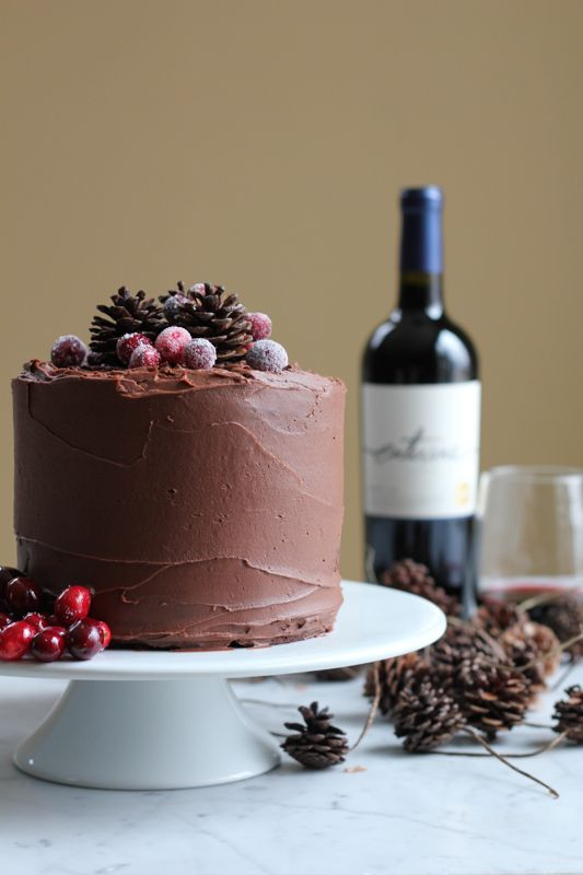Chocolate Merlot Cake. Rich, fudgy, chocolatey goodness . . . with a hint of Merlot. You need to try this cake. #valentinesday