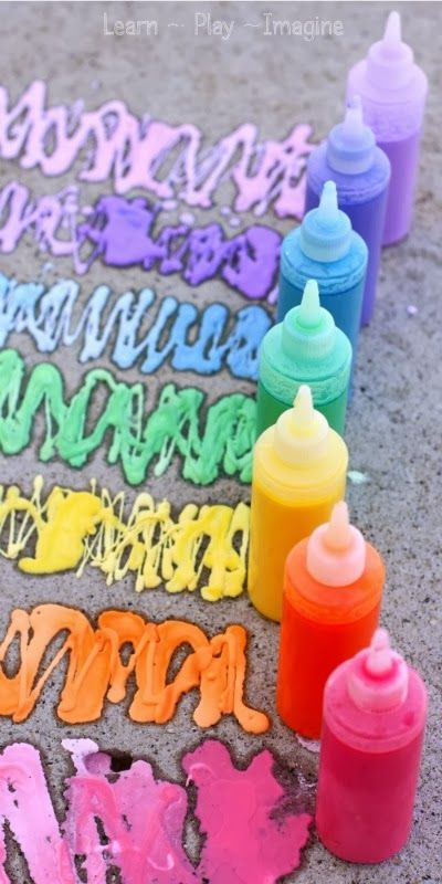 Easy recipe for rainbow sidewalk chalk paint - bonus:  it erupts when you spray with vinegar afterwards
