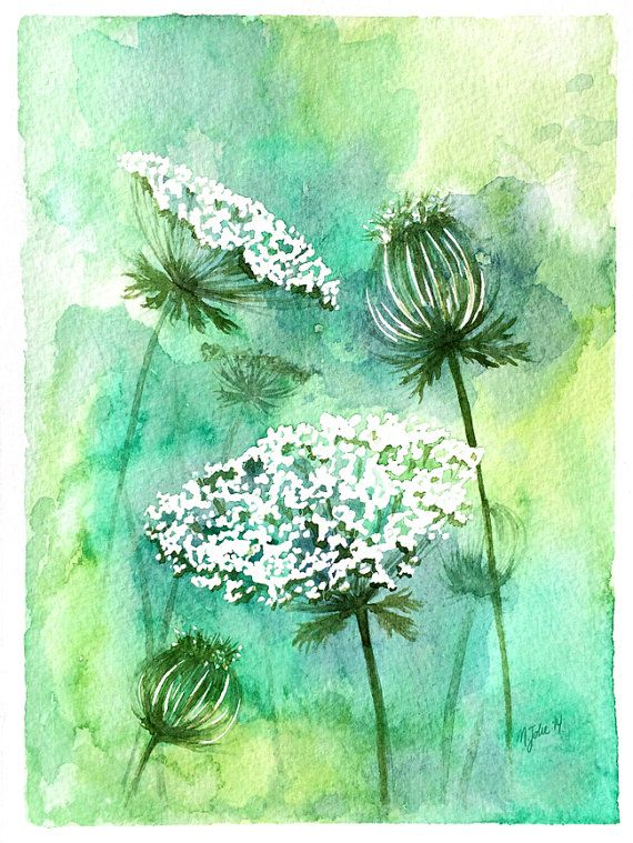 Original Watercolor Painting Queen Anne's Lace by FlowerandtheSong