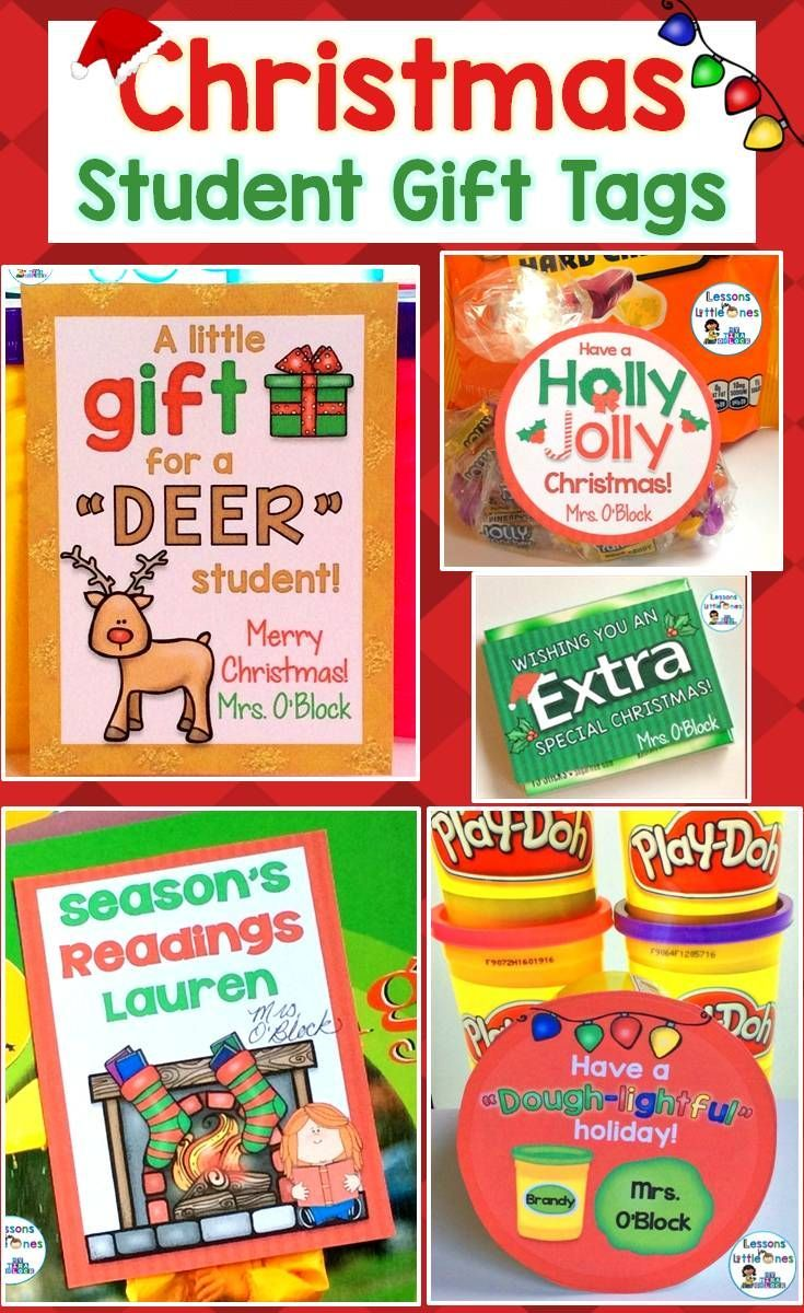 Christmas Student Gift Tags 12 Different EDITABLE Holiday Designs ...