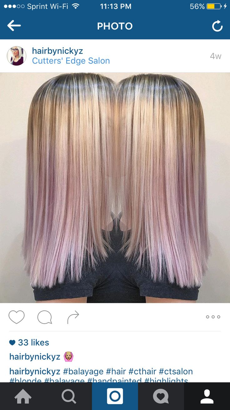 Hair Color Blonde Balayage Rooted Hair With Violet Lilac