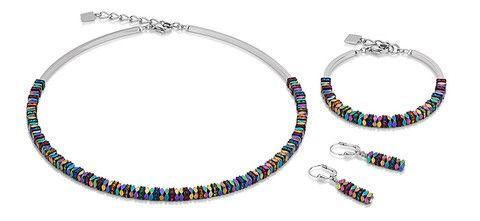 Swarovski haematite multicolour necklace, bracelet and earrings. 4777_1500