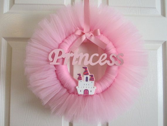 Tutu Wreath Pink Princess Castle Girls Room by AmericanBlossoms, $35.00