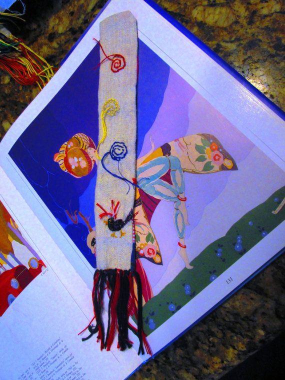 Arte tessile - Segnalibro  fatto a mano tecnica mista patchwork ricamo