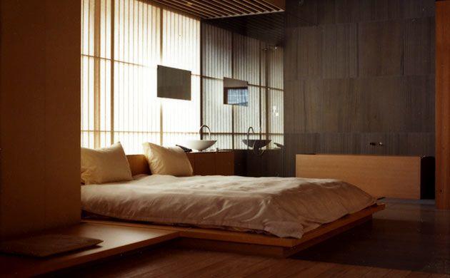 A room in the Fujiya, a traditional Japanese inn in Yamagata, designed by Tokyo-based architect Kengo Kuma