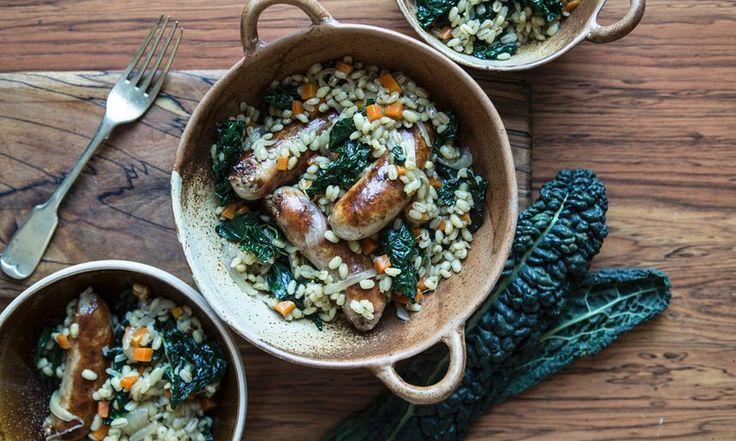 Comforting sausage kale and barley stew.