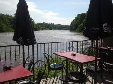 2 Rivers, Downtown Paris along the banks of the Grand river. Perfect spot for a Sunday morning breakfast of Bloody Caesars with  Salmon and goat cheese omelette, during a Grand River Bike ride.