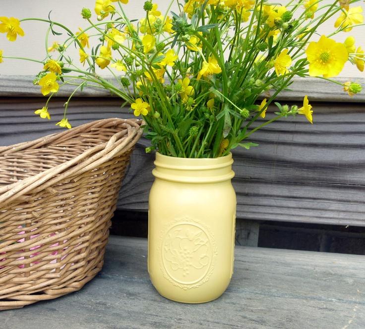 From Fresh Eggs Daily:  Yellow Painted Glass Ball Mason Jar Flower Bud Vase Farm Chic Rustic. $8.00, via Etsy.: Mason Jars I, Masons, Mason Jar Flowers, Painted Mason Jars, Ball Mason Jars, Flower Vases, Mason Jars Limitless, Glass Jars, Craft Ideas