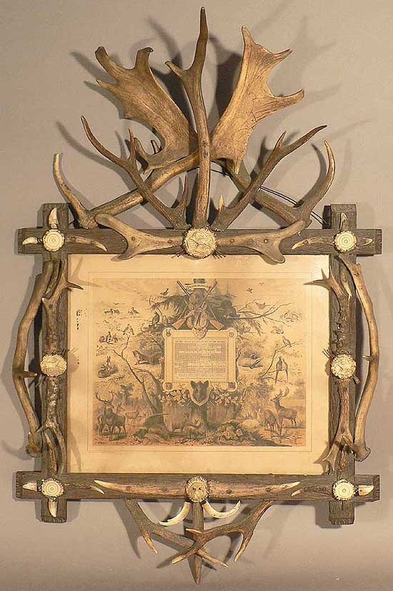 antique antler hunting calendar ca. 1890
