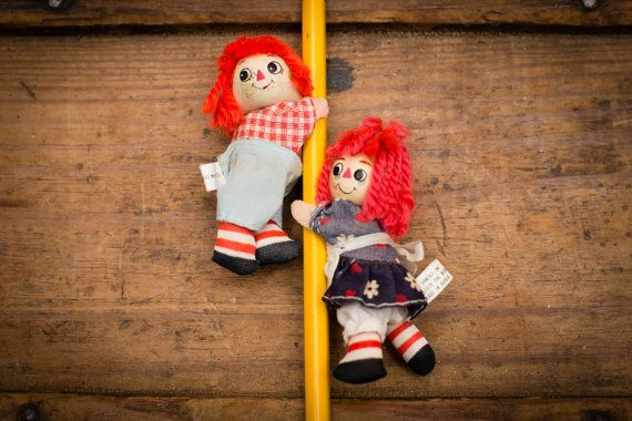 Raggedy Ann & Andy Pencil Huggers Set, Pincher Figures, Vintage 70s
