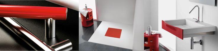 """#Ausilio """"Prestigio+"""", rosso ciliegia; in #acciaio inox, è o con finitura lucida o nei colori bianco lino, sabbia, grigio ossido e, appunto rosso. Secondo prodotto, il #piattodoccia """"Quadro"""", in pietra acrilica, a filo pavimento, è munito di piano di copertura in colore a contrasto, tra cui il rosso. Infine il #lavabo """"Keilos"""" ha corpo bianco mentre il labbro può essere personalizzato nei colori disponibili, tra cui il rosso brillante. Per un insieme elegante, funzionale e coordinato."""