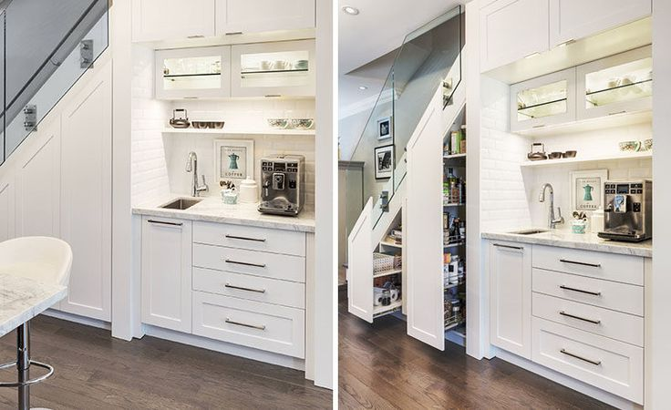 When interior designer Lisa Robazza was renovating this semi-detached home in Toronto, Canada, she created a coffee station in what was once a closet for coats and shoes, and added additional food storage under the stairs